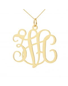 "9ct Yellow Gold Three Initials Monogram on 18"" Curb Chain"