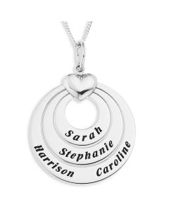 "Sterling Silver Personalised 5 Names Family Heart And Circle Pendant On 18"" Curb Chain"