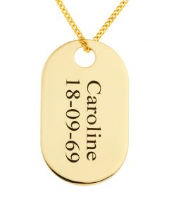 "9ct Yellow Gold Personalised Dog Tag Pendant on 18"" Curb Chain"