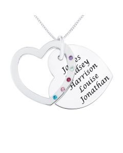 "Silver Personalised Family Keepsake Heart Shape Pendant on 18"" Curb Chain"