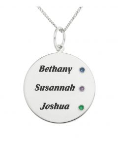 "Sterling Silver Personalised CZ Disc Pendant On 18"" Curb Chain"