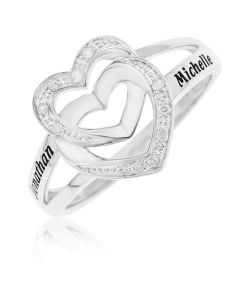Silver Personalised Diamond Set Double Heart Ring
