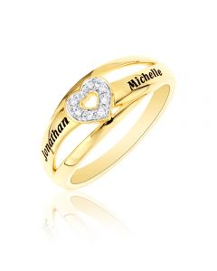 9ct Yellow Gold  Personalised Two Name Diamond Set Heart Ring