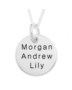 "Sterling Silver Personalised Three Names Disc Pendant On 18"" Curb Chain"