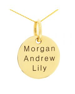 "9ct Yellow Gold Personalised Three Names Round Disc Pendant On 18"" Curb Chain"