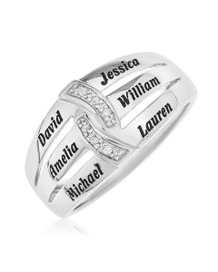 Rhodium Plated Sterling Silver Personalised 6 Names And Diamond Set Family Ring