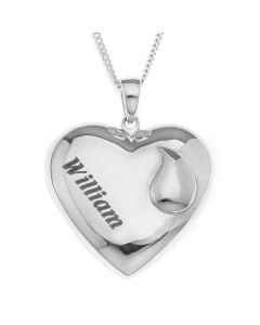"Sterling Silver Personalised In Memory Of Heart Pendant On 18"" Curb Chain"