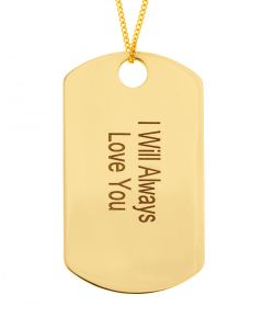 9ct Yellow Gold Personalised Dog Tag Message Pendant