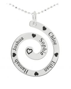 "Silver Personalised Five Names Swirl Pendant on 18"" Ball Chain"