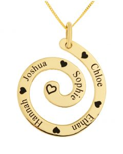 "9ct Yellow Gold Five Names Personalised Swirl Pendant On 18"" Curb Chain"