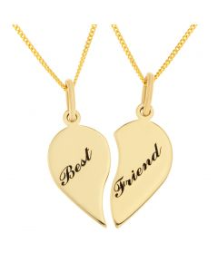 "9ct Yellow Gold Personalised Heart Split Pendant On 18"" Curb Chain"