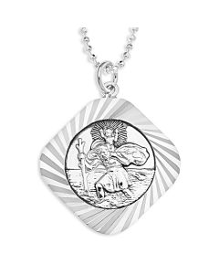 "Sterling Silver Dia Cut St. Christopher Pendant On 18"" Ball Chain"