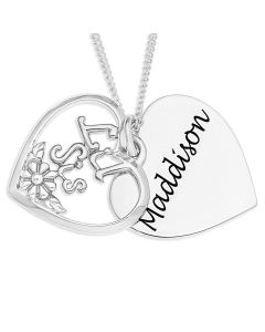 "Silver Personalised Heart Shape Disc And Overlaid With 'Lil Sis' Pendant On 18"" Curb Chain"