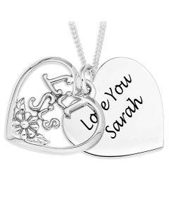 """Silver Personalised Heart Shape Disc And Overlaid 'Lil Sis' Pendant On 18"""" Curb Chain"""