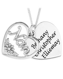 """Silver Personalised Heart Shaped Disc With Overlaid """"Nan"""" Pendant On 18"""" Curb Chain"""