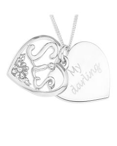 "Silver Heart Shaped Disc With Overlaid ""Sis"" Pendant On 18"" Curb Chain"