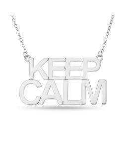 Sterling Silver 'KEEP CALM' Necklace On Trace Chain