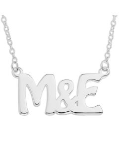 "Sterling Silver Personalised Two Initial Necklace On 16"" Trace Chain"