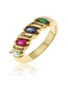 9ct Yellow Gold Personalised 4 Names & 4 Birthstones Family Ring