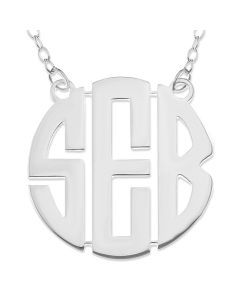 "Sterling Silver Personalised 3 Initial Monogram Necklace On 16"" Trace Chain"