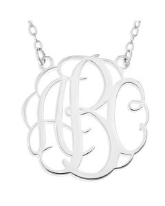 "Sterling Silver Personalised 3 Initial Monogram Necklace On 18"" Trace Chain"