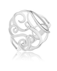 Sterling Silver Personalised Three Initial Monogram Ring
