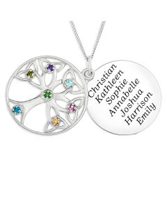 "Sterling Silver Personalised 7 Names And 7 Birthstones Family Tree Disc Pendant on 18"" Curb Chain"