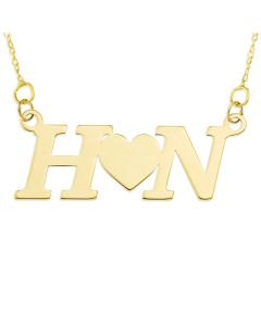 "9ct Yellow Gold Two Initials With A Heart Between Necklace On 16"" Trace Chain"