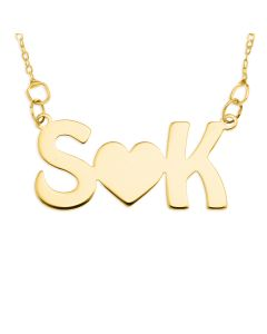 "9ct Yellow Gold Two Initial With a Heart In The Middle Necklace On 16"" Trace Chain"