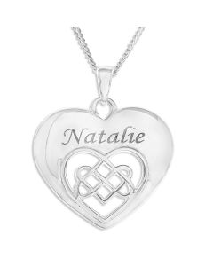 """Sterling Silver Personalised Celtic Heart Pendant On 18"""" Curb Chain"""