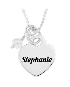 "Sterling Silver Personalised Heart Padlock And Pearl Charm Pendant On 18"" Ball Chain"