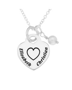"Sterling Silver Personalised Two Names Heart Padlock Pendant On 18"" Trace Chain"