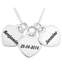 "Sterling Silver Personalised Three Hearts Pendant On 18"" Trace Chain"
