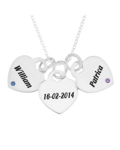 "Sterling Silver Personalised Three Heart Shape Padlocks With Two Birthstones On 18"" Trace Chain"