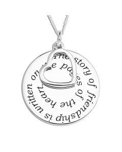 "Sterling Silver Personalised Message Disc  With Open Heart Charm Pendant On 18"" Curb Chain"