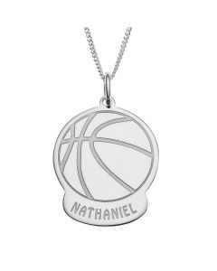 "Sterling Silver Personalised Basketball Pendant On 18"" Curb Chain"
