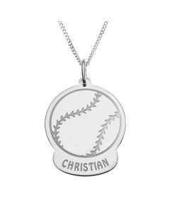 "Sterling Silver Personalised Baseball Pendant On 18"" Curb Chain"