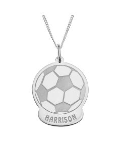 "Sterling Silver Personalised Football Pendant On 18"" Curb Chain"