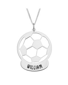 "Sterling Silver Personalised Stencilled Football Pendant On 18"" Curb Chain"