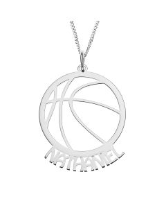 "Sterling Silver Personalised Stencilled Basketball Pendant On 18"" Curb Chain"