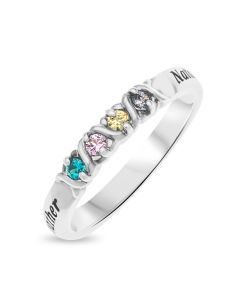 Sterling Silver Personalised Two Names And Four Cubic Zirconia Stones Set Ring