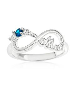 Sterling Silver Personalised Two Name CZ Set 'Mum'  Infinity Ring