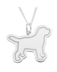 "Sterling Silver Personalised Dog Pendant On 18"" Curb Chain"
