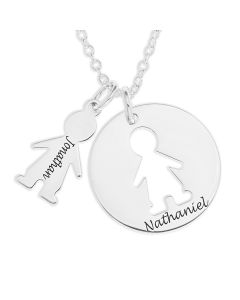 "Sterling Silver Personalised Cut Out Boy Disc Pendant On 18"" Trace Chain"