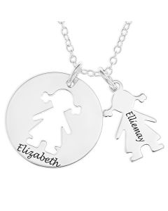 "Sterling Silver Personalised Cut Out Girl Disc Pendant On 18"" Trace Chain"