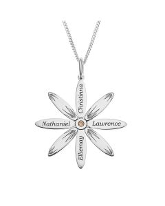 "Sterling Silver Personalised Sunflower With Swarovski Crystal Set Pendant On 18"" Curb Chain"