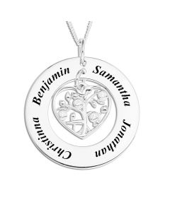"Sterling Silver Personalised Family Circle With CZ Set Heart Charm Pendant On 18"" Curb Chain"