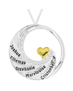 "Sterling Silver Personalised Five Names White CZ And Gold Plated Heart Slide Circle Pendant On 18"" Curb Chain"