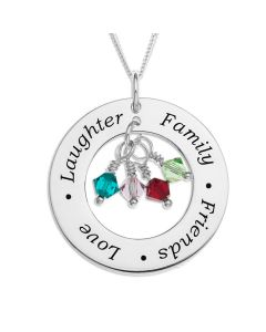 "Sterling Silver 'Love Laughter Family Friends' Message Circle With CZ Stones Pendant On 18"" Curb Chain"