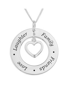 "Sterling Silver Message Circle And Dia Set Heart Charm Pendant On 18"" Curb Chain"